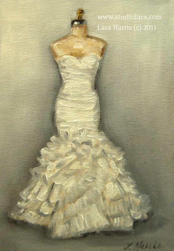 White Wedding Dress Painting in OIL by LARA 5x7