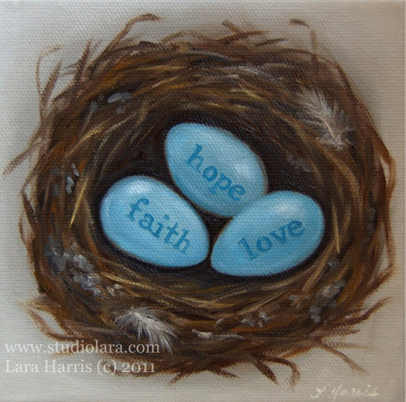 CUSTOM Love Nest Painting in OIL by LARA 6x6 Personalized Names Words Wedding Couple Gift