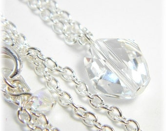 Necklace, Swarovski Crystal Necklace, Crystal Necklace,  Silver Necklace, Sparkle Necklace