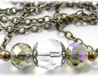 Crystal  Brass Necklace with Bronze Gold Firepolished Czech Beads