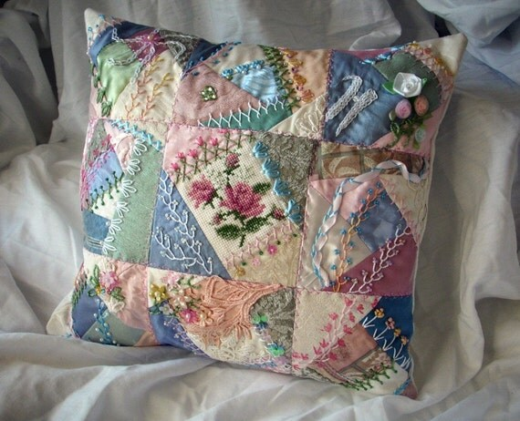 Items similar to Crazy Quilt Pillow COVER custom made in any color combinations great for ...