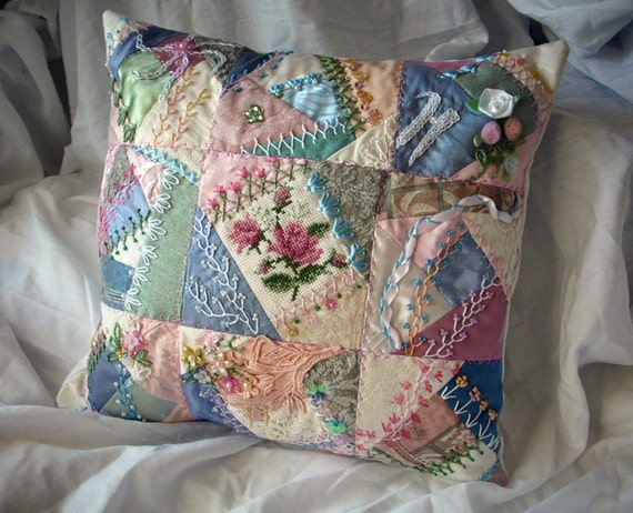 Quilting Patterns For Pillow Covers : Items similar to Crazy Quilt Pillow COVER custom made in any color combinations great for ...