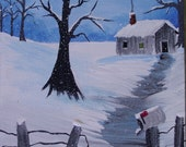Winter in the Smoky Mountains Painting on Canvas