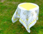 "MODERN LOVE Linen Tablecloth/ Vintage 50's/ Yellow White and Gray/ Modernist Print/  48"" Square"