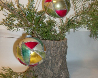 Vintage MidCentury Glass Christmas Ornaments / West Germany/ Set of 2/ Glass and Glitter