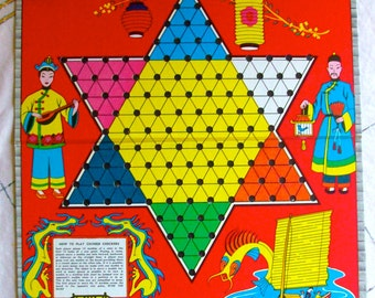 Mid Century Chinese Checkers For All Ages / Vintage 60's / By Warren/Board Game/Colorful/Home Decor/Display/Family Game Night