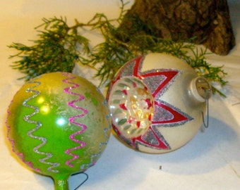 Vintage Glass Ornaments / Vintage / West Germany and Italy / Set of 2
