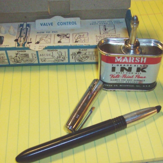 Take a Letter Maria  vINTAGE 50's Marsh 77 Felt Point Pen and Ink set