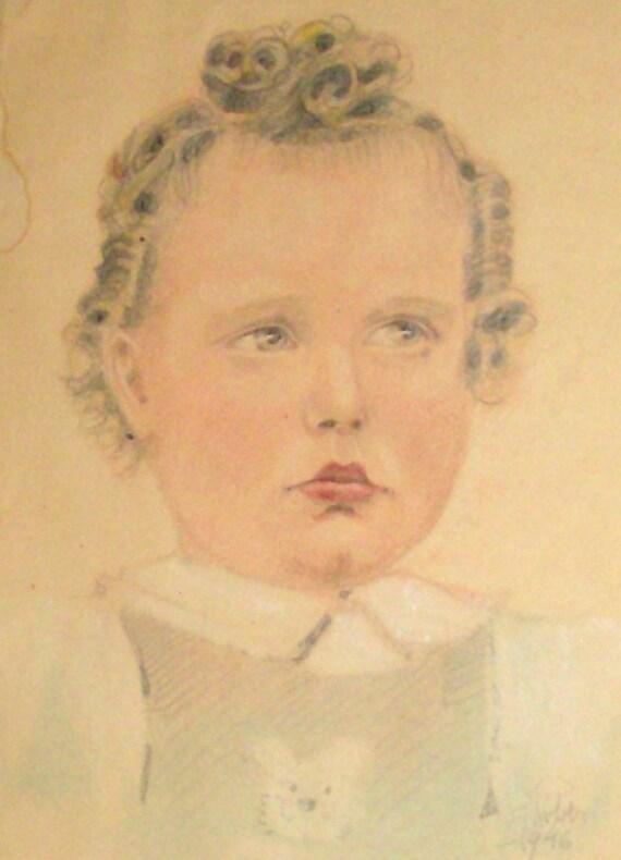 LOVE BITES 1946 Portrait / Framed Antique Drawing / Child's Portrait / Signed and Dated