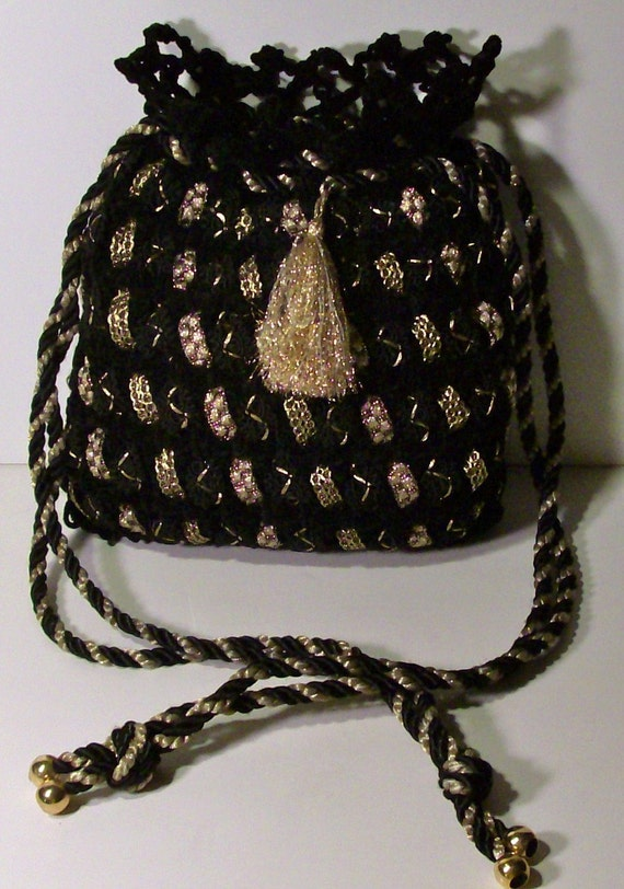 BLACK and GOLD Drawstring Purse / Handmade Vintage 60's / Soutache Handbag