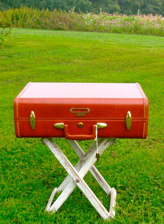 "Reserved for laurynduncan until 10/7/11 TICKET To RIDE SIENNA Vintage Samsonite Suitcase With Key  22"" X 15"""