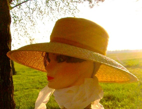 SWEET CAROLINE Vintage William Silverman Original / 50's Couture Hat / Wide Brimmed Straw with Chiffon and Velvet