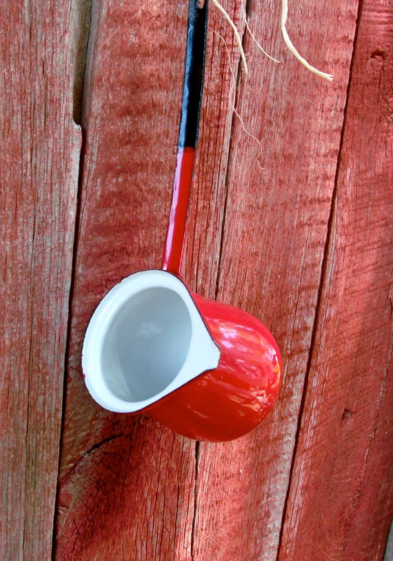 RED HOT STUFF Antique Enamelware Dipper  /  1.5 Cup / Sauce Server