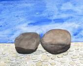 Rock Beach, original watercolor painting