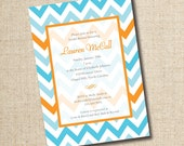 Chevron Pattern Bridal Shower Invitation...Custom, Printable Digital File