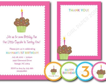 Cupcake birthday party set (custom), printable