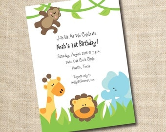 Jungle Animal Birthday Invitation, Digital, custom