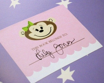 Adorable Girl Monkey Bookplates, Set of 10