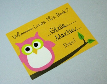 Adorable Pink Owl Bookplates, Set of 10