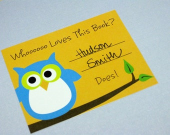 Adorable Blue Owl Bookplates, Set of 10