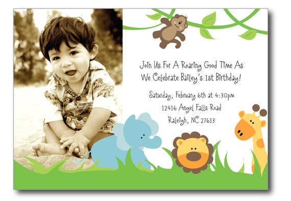 Jungle Animal Photo Birthday Invitation, Digital