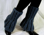 Blue Denim Colored Ultra Flared Leg Warmers - Free US Shipping
