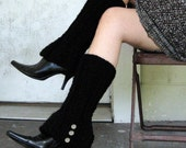 Faux Boot Legwarmers in BLACK with Spat Style Buttons - FREE US SHIPPING