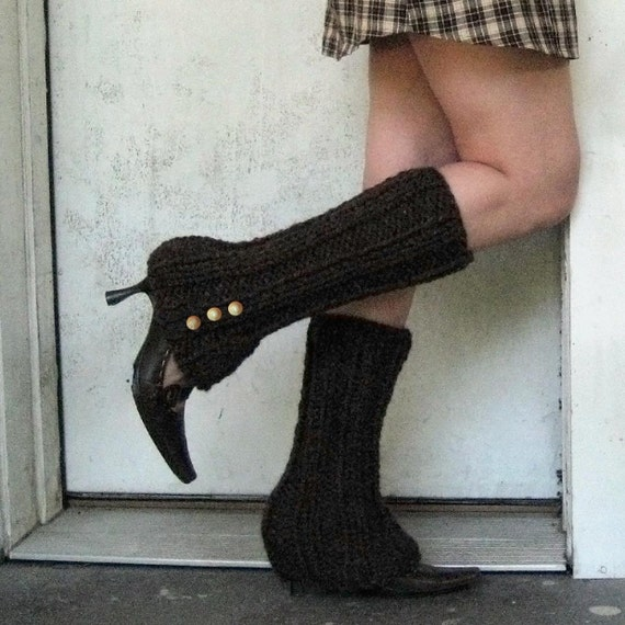 Faux Boot Legwarmers in Wood Brown with Spat Style Buttons - FREE SHIPPING WORLDWIDE