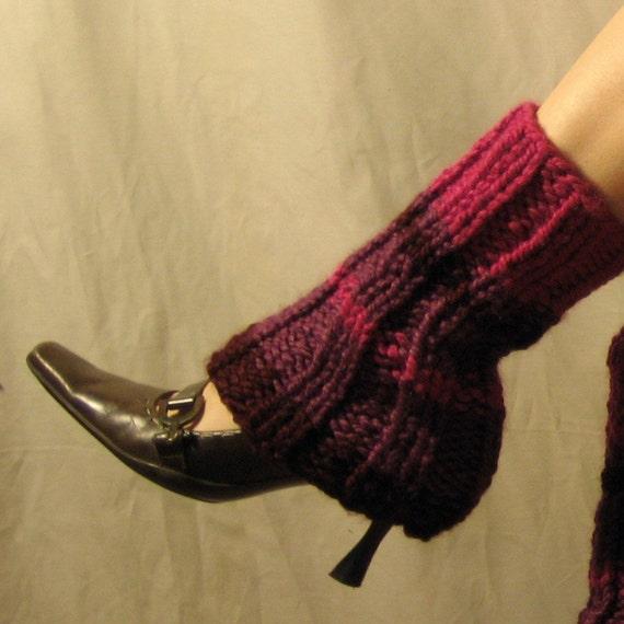 HOLIDAY SALE - Leg Warmers Pink Purple and Wine Stripes - Chunky
