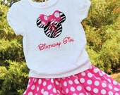 Minnie Mouse inspired birthday shirt and twirl skirt. Zebra with candy pink and white polka dots. Personalized. Sizes 12month to 5T