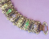 Vintage Pastel Rhinestone and Gold Tone Bracelet for Reuse Recycle