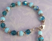 Handcrafted Beaded Bracelet in Pretty Blues