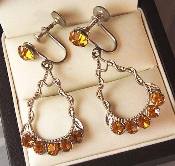 Vintage Dangle Rhinestone Earrings - Citrine and Silver tone Screw Backs