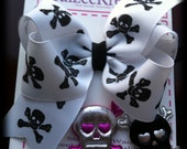Punk Rocker Princess - Pick Pink/Silver or Black/Silver skull center - Extra Large Boutique bow