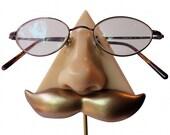Nose Eyeglasses Stand  bronze mustache