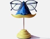 Blue Nose Eyeglass Stand Blond Moustache