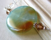 ON SALE 30% OFF Moon Mist Aqua and Amber Agate Necklace in Silver