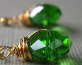 Earrings Green Faceted Glass in Gold Emerald City