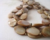 Cocoa Brown Shell Multistrand Necklace in Silver