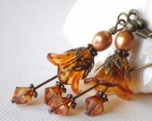 SALE 35% OFF Earrings Topaz Flower Beaded Dangles with Topaz Crystals and Bronze Pearls in Antiqued Bronze Handmade