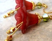 Red Lucite Flower Earrings, Olive Green Swarovski Crystals, Gold, Romantic Christmas Dangles, Handmade