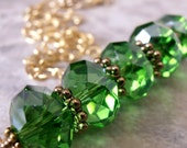 CLEARANCE SALE Green Necklace, Green Faceted Glass Beaded Bar Necklace in Gold