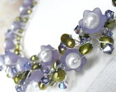 ON SALE Beaded Wire Necklace Lucite Flowers Pearls Crystals Lavender Purple Green White Silver, Handmade