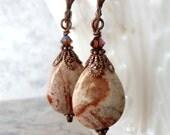 Beaded Earrings Semi Precious Gemstone Cappuccino Jasper Teardrop Dangles Swarovski Beads Antiqued Copper Natural Stone Handmade Jewelry