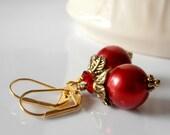 On Sale Beaded Jewelry Red Earrings Pearl Earrings Antiqued Gold Dangle Earrings Red Pearl Jewelry Handmade Earrings