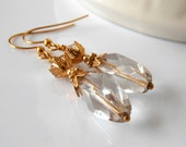Beaded Earrings Clear Faceted Glass Dangles in Gold with Topaz Swarovski Crystals Handmade Jewelry