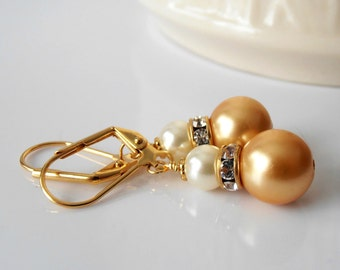 Honey Gold Pearl Dangle Earrings Caramel and Ivory Pearl Earrings Bridesmaid Jewelry Small Dangles Bridal Party Earrings Handmade