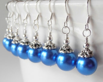 Marine Blue Bridesmaid Earrings Horizon Blue Simple Pearl Dangles Beaded Jewelry  Cobalt Wedding Accessories Handmade Bridesmaid Gift
