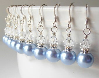 Weddings Bridesmaid Jewelry Light Blue Pearl Dangle Earrings Pearl and Crystal Beaded Dangles Pale Blue Weddings Bridesmaid Earrings