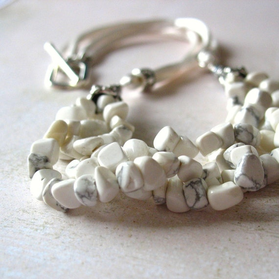 White Howlite Beaded Necklace with Silk Cord in Silver Handmade